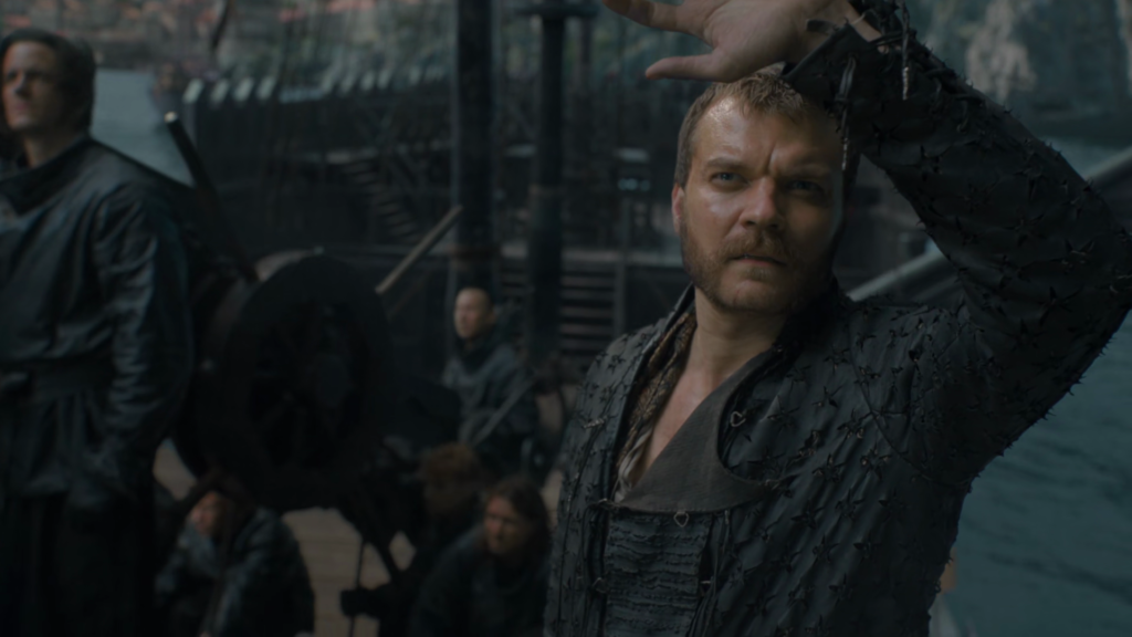 euron greyjoy is checking the sign of dragon