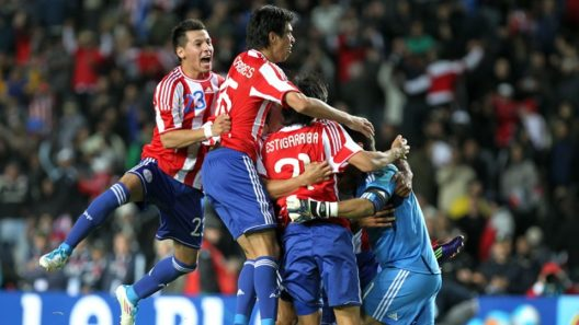 Celebrations of Paraguay team players