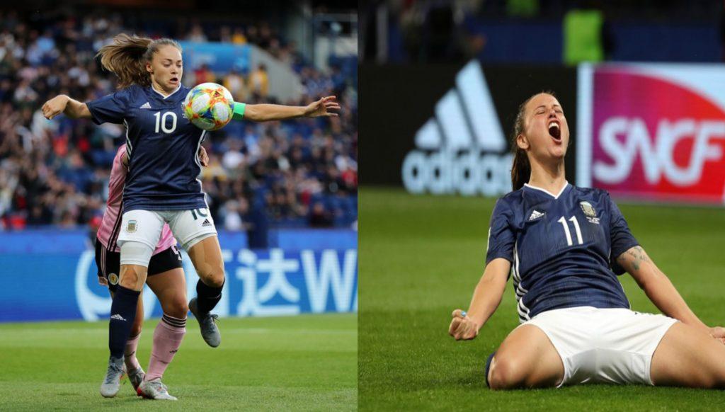 celebration in Argentina team after scoring goal against Scotland