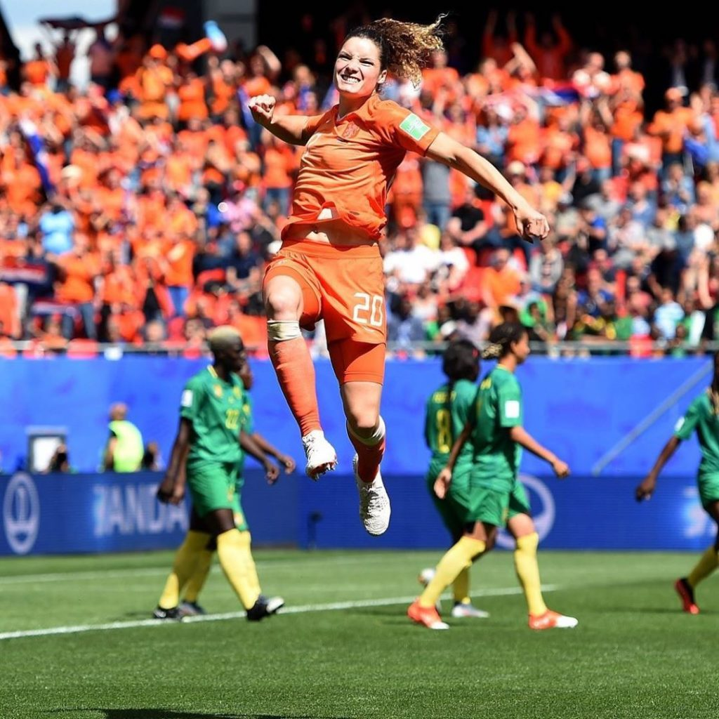dominique bloodworth after scoring goal against cameroon
