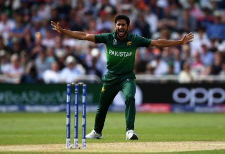 hassan ali in joy after taking the wicket of rohit sharma