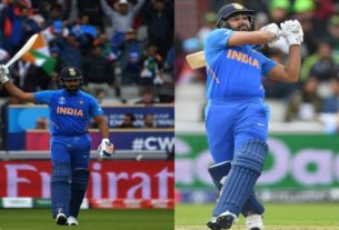 rohit sharma scored his second world cup tone against pakistan