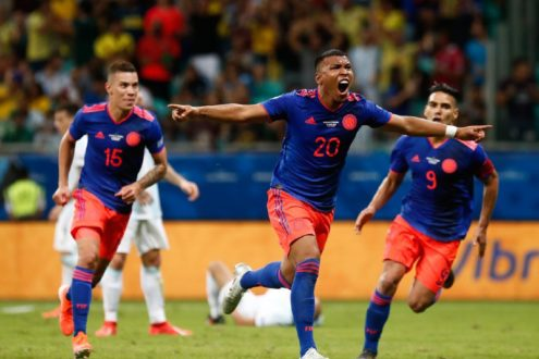the joy of colombian team after victory over argentina