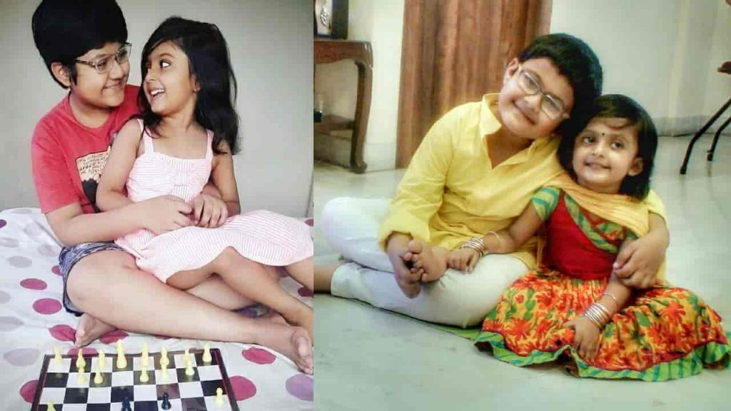 Cute Meghan with her elder brother dadabhai Sadhon Chakraborty